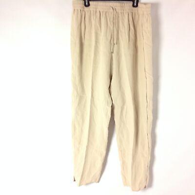 Iris Von Arnim H5 Womens Pull-On Pants 100% Silk Drawstring Waist Ivory Size 44