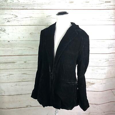 Boston Proper Black Crushed Velvet Blazer Suit Jacket Coat Sz 10 Missing Button Black Velvet Blazer Jacket