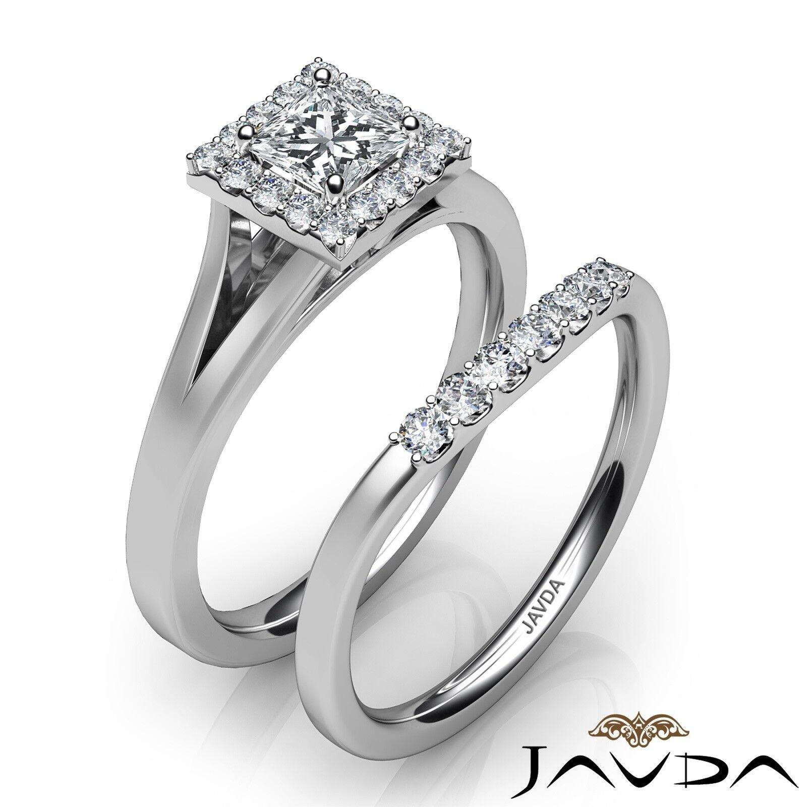 0.93ctw Halo Pave Bridal Princess Diamond Engagement Ring GIA F-VVS1 White Gold 2