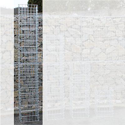 Gabionen-Säule H:200 cm 4-Eck Säulengabione Steinkorb Gabione Maschung 10x5 cm