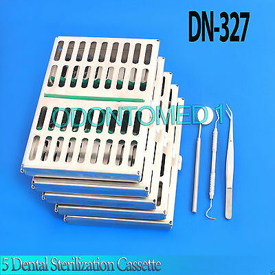 Set Of 5 Dental Sterilization Cassette Rack Box Tray For 10 Instrument Dn-327