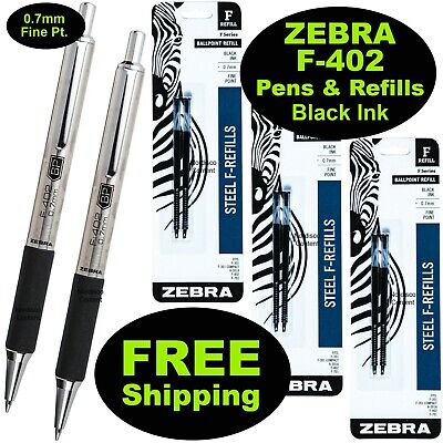Zebra F-402 0.7mm Ball Point Pens Refills Black Ink 2 Pens 3 Pack Of Refill