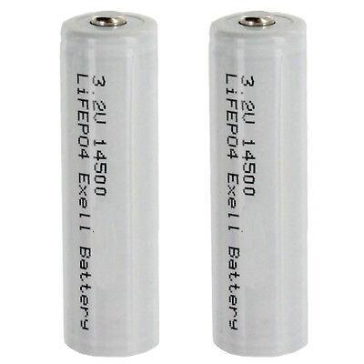 (2-PACK) 3.2V 500mAh (14 x 50mm) 14500 SIZE AA LiFePO4 Rechargeable Batteries