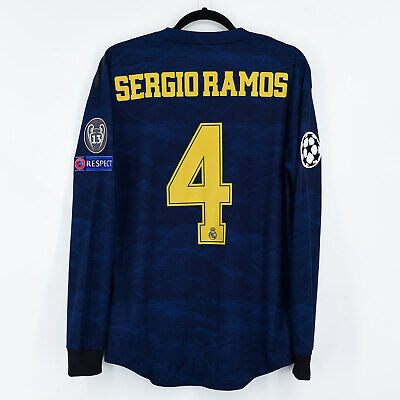 2019-20 Real Madrid Player Issue Shirt Away #4 SERGIO RAMOS Champions League...