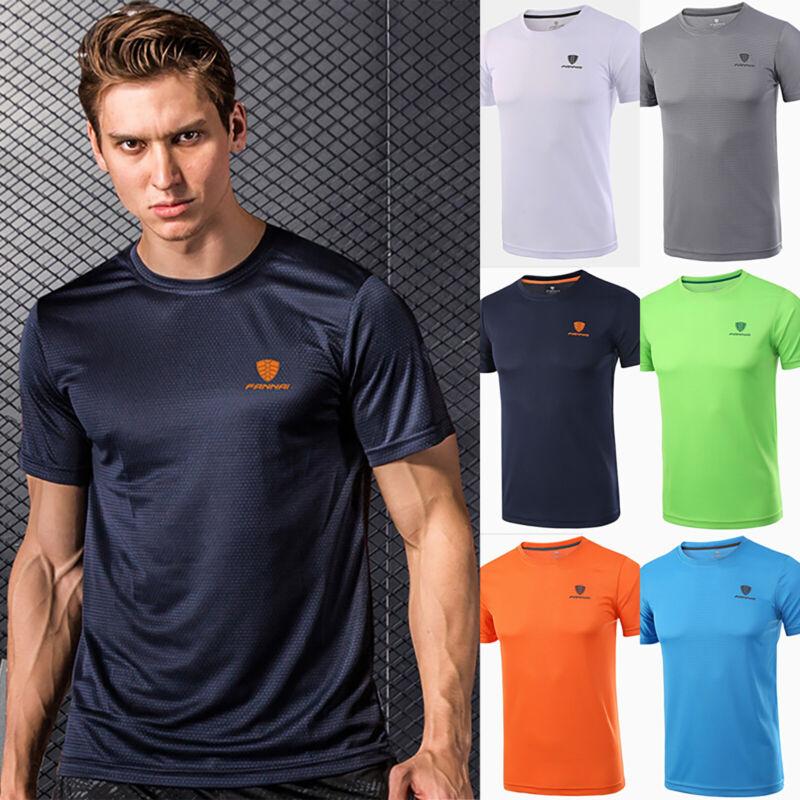Uomo Asciugatura Veloce T Shirt Sport da Palestra Sportive Muscolo Stretch