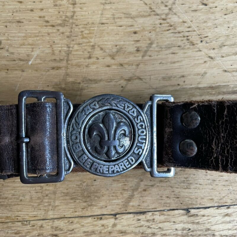 Vintage Boy Scout of America Official Belt Leather Brass Be Prepared
