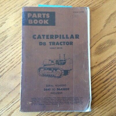 Cat Caterpillar D8 D8h Parts Manual Book Catalog Tractor Bulldozer Sn 36a1-3859