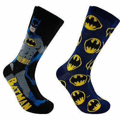 Hyp DC Comics Batman Pose Men's Crew Socks 2 Pair Pack Shoe Size 6-12