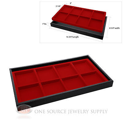 Black Plastic Stackable Tray W 8 Compartmented Red Jewelry Display Insert