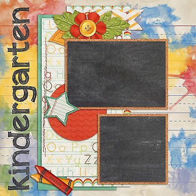 KINDERGARTEN - 2 Premade Scrapbook Pages - EZ Layout 836 - Kindergarten Crafts