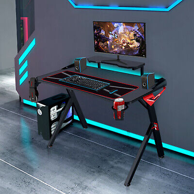 """Computer Games - 43""""Gaming Computer Desk Home Club E-Sports Racing Table Cup Holder Headset Hook"""