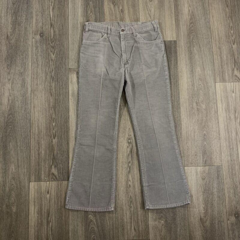 Vintage Levis 646 Gray Corduroy Bell Bottom Flare Pants Size 34x30