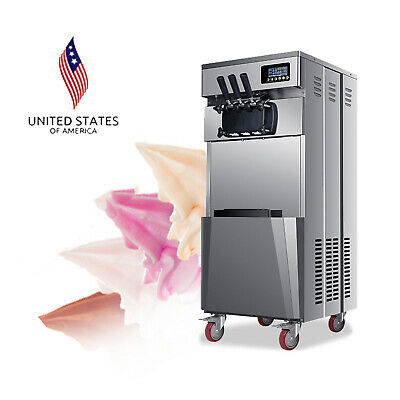 Pro 20lh Stand Commercial 3 Flavors Ice Cream Machine Stainless Steel Automatic