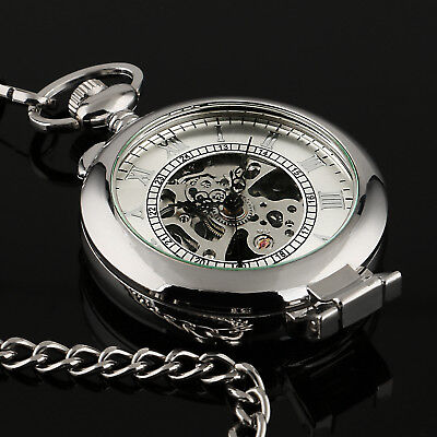 - Mens Pocket Watch Mechancial Silver Case Hand-winding Skeleton Fob Chain Luxury
