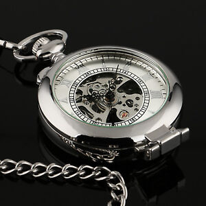 ac1018f4d Mens Pocket Watch Mechancial Silver Case Hand-winding Skeleton Fob Chain  Luxury