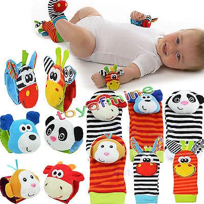 For sale Multi shape Soft Toy Animal Baby Infant Kids Hand Wrist Bells Foot Sock Rattles