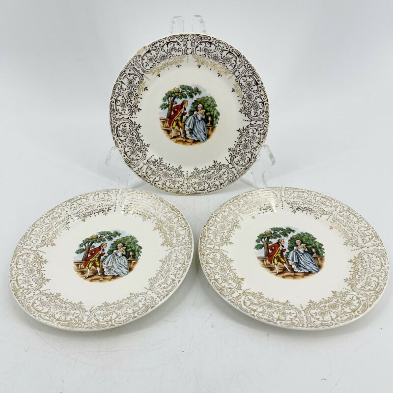 Vtg Triumph American Limoges Chantilly Bread & Butter Plate 22K Gold Set of 3