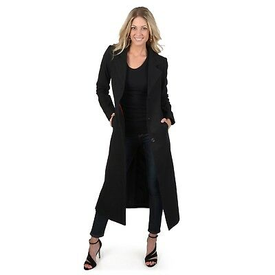 NWT - ADI DESIGNS Juniors FULL-LENGTH Black WOOL-BLEND COAT Size: XL
