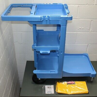 Rubbermaid Commercial Cleaning Cart Fg617388blue Blue Plastic Janitor 46x22