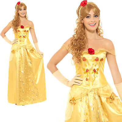 Golden Princess Costume Beauty Belle Adult Womens Ladies Fancy Dress Outfit
