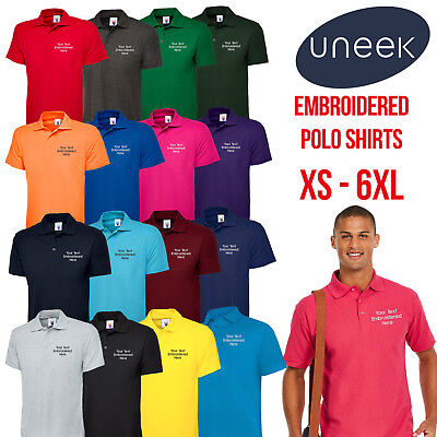 Custom Embroidered Polo Shirt UC101 Personalised with your Text Classic Polo Top