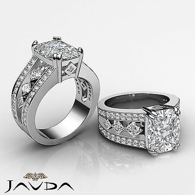 Double Prong Bezel Setting Cushion Cut Diamond Engagement Ring GIA F VS2 2.25Ct