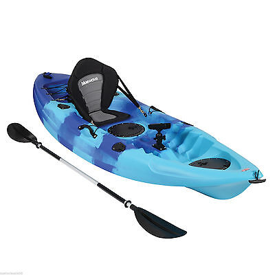 KAYAK SIT ON TOP FISHING SEA RIVER OCEAN TOURING KAYAKS DELUXE SET - MIXED BLUE