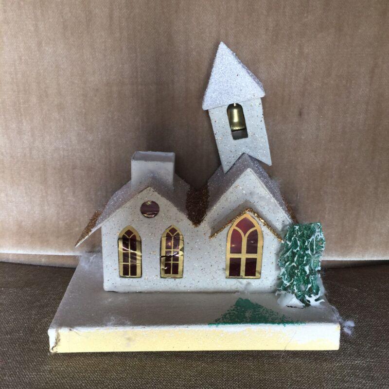 Vintage Christmas Village Cardboard Paper Putz House Japan Church Steeple