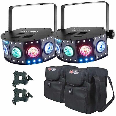 Chauvet DJ FXarray Q5 Quad-Color LED DJ Wash Lights Pair + Clamps + Travel Case