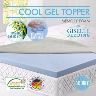 Cool gel memory foam double mattress topper + washable cover Preston Darebin Area Preview
