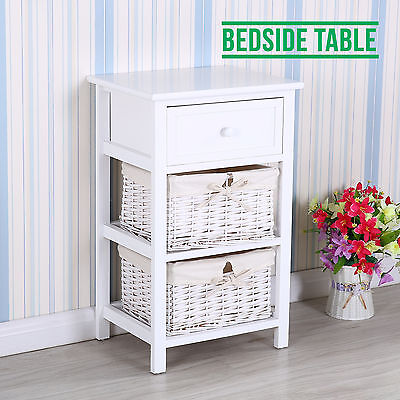 Spotless Wood Retro Shabby Chic Nightstand End Bedside Table w/Wicker Baskets