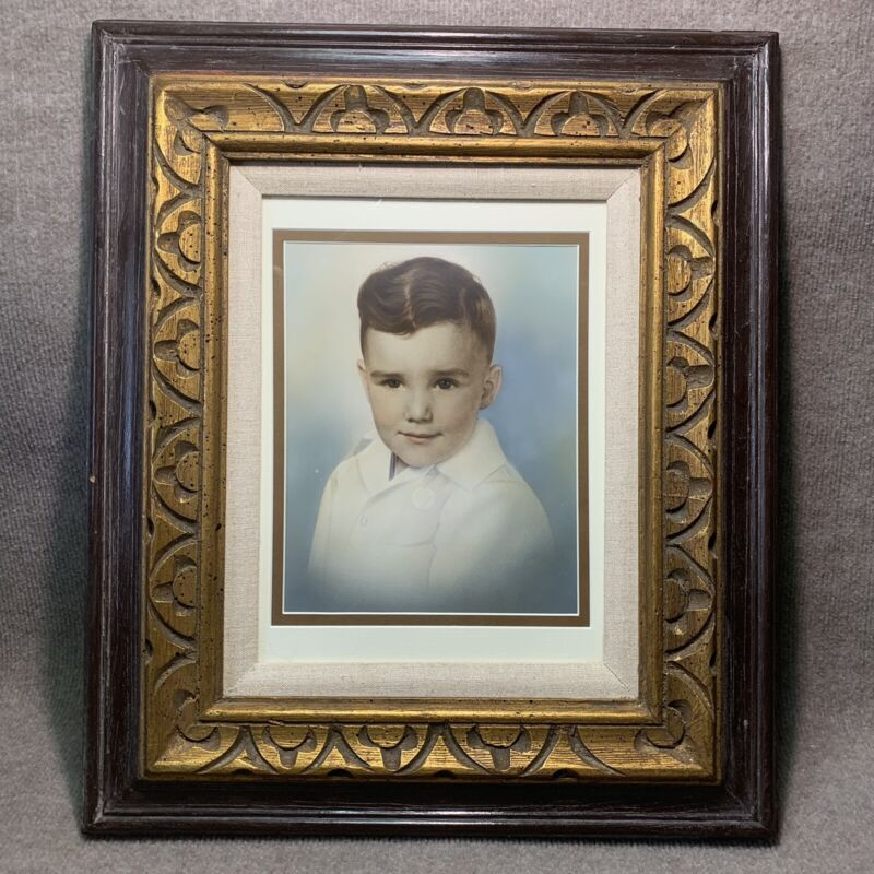 Vintage Frame Old Colorized Picture Photo Wood Gold Brown Boy Child Decor