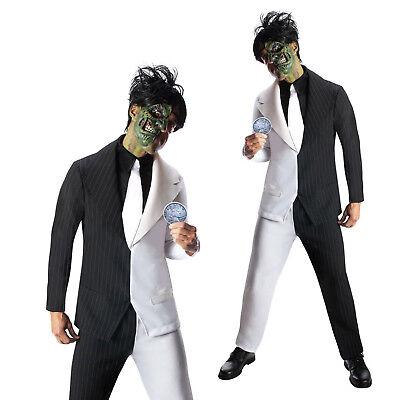 Mens Two Face Suit Batman Villian Havey Dent Adult Fancy Dress Halloween Costume