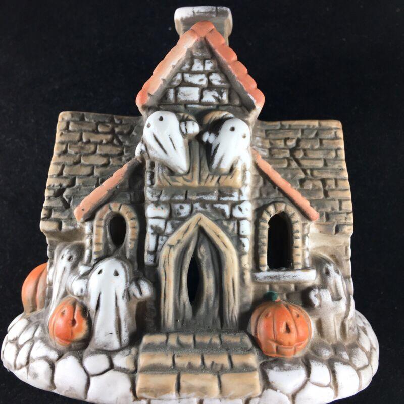 Vintage Halloween Haunted House Ghost Jack O Lantern Pumpkin Candle Tea Holder