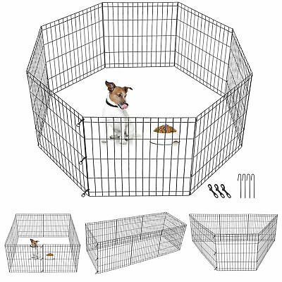 24 Inch 8 Panels Dog Playpen Tall Large Crate Fence Pet Play Pen Exercise Cage Dog Supplies
