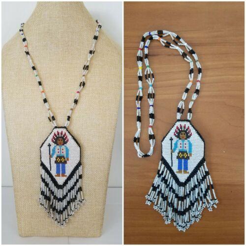 "Vintage Native American Handmade Beaded Buckskin Pendant Necklace 27"""
