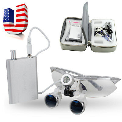 Us Silver Dental Loupes2.5-3.5x420mm Surgical Binocular Glass Head Light Case