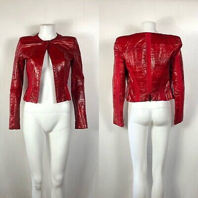 Rare Vtg Gianni Versace Red Eel Leather Jacket S (Versace Leather)