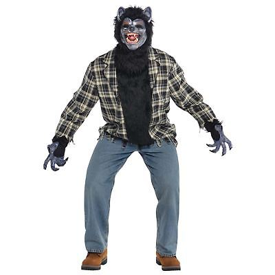 Mens Rabid Werewolf Halloween Costume Mask Fur Gloves Fantasy Wolf Horror Myth