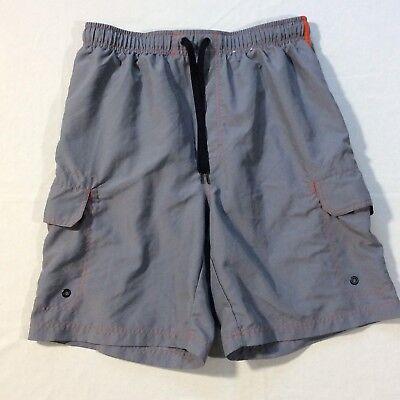 Old Navy Gray Mesh Lined 2 Pocket Polyester Swim Trunks Shorts Men's Medium M