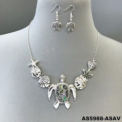Silver Tone Chain Sea Turtle Design Mother of Pearl Pendant Necklace & Earrings - Pearls Pendant Necklace Earrings