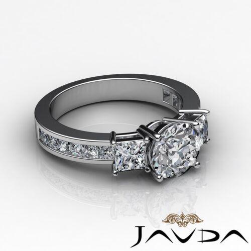 3 Stone Round Diamond Engagement Channel Set Ring GIA F VS2 14k White Gold 2.1ct 2
