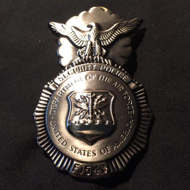 USAF Department of AIR FORCE SECURITY POLICE Badge~021-GI #F1543~OBSOLETE