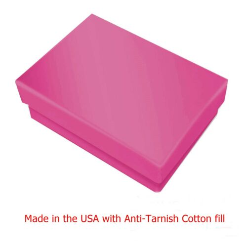 """100 Glossy Pink Cotton Filled Jewelry Packaging Gift Box 3 1/4"""" x 2 1/4"""" x 1"""""""