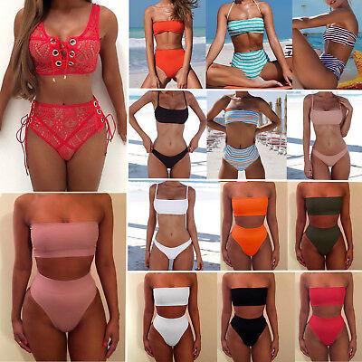 Women Strapless Bandeau Bathing Swimsuit High Waist Swimwear Beach Bikini-Set XL