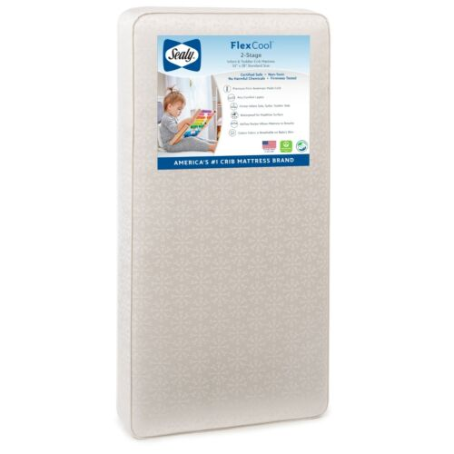 Sealy FlexCool 2-Stage Airy Waterproof Crib & Toddler Bed Mattress-Free Shipping
