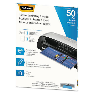 Fellowes Thermal Laminating Pouches Letter 3 Mil 50pack 5744301