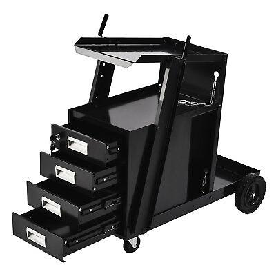 4-Drawer Cabinet Welding Welder Cart Plasma Cutter Tank Storage MIG TIG ARC