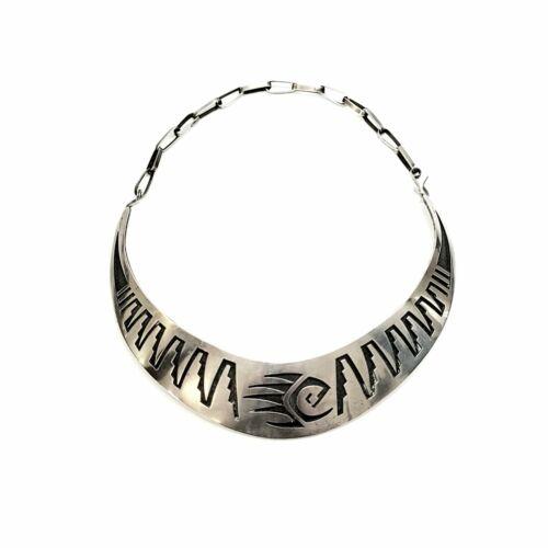 Native Amer Hopi E Sehongva Sterling Silver Bear Paw Collar Necklace #7954