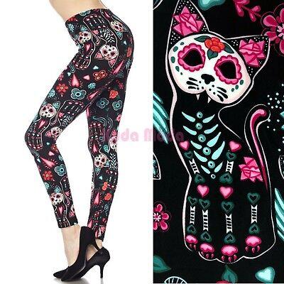Halloween Party Nightclub (Women Cutty Cats Sugar Skull Flower Hearts Ankle Legging Halloween Party)